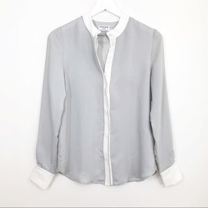 NWT Frame Silk Smoke Piped Button Down Blouse